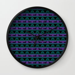 Greyt Purple and Green Art Deco Inspired Greyhounds Wall Clock
