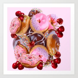 RED CHERRIES & PINK-CHOCOLATE FROSTED DONUTS Art Print