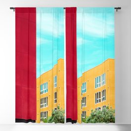 Architectural photography building red+yellow / aqua sky Blackout Curtain