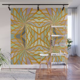 Gold Lined Geometric Shapes Abstract Wall Mural