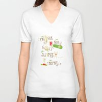 golf V-neck T-shirts featuring Golf  by Crea Bisontine