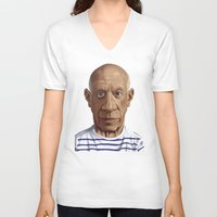 pablo picasso V-neck T-shirts featuring Celebrity Sunday ~ Pablo Picasso by rob art | illustration