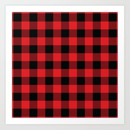 Buffalo Plaid Christmas Red and Black Check Art Print
