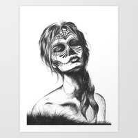 sugar skull Art Prints featuring Sugar Skull by Lena Safaniouk
