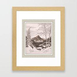 NORTHEAST SNOWFALL VINTAGE PEN AND PENCIL DRAWING Framed Art Print
