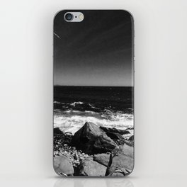 ocean view in black and white iPhone Skin