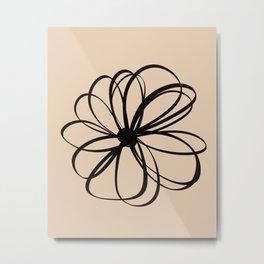 Abstract Flower Black Beige Metal Print