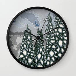 A Blue and Grey Day in Winter Wall Clock