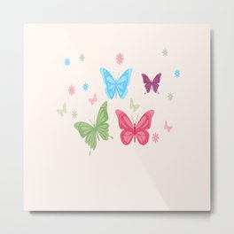 Butterfly Group Of Colorful Butterflies Metal Print