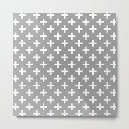 Criss Cross | Plus Sign | Grey and White Metal Print