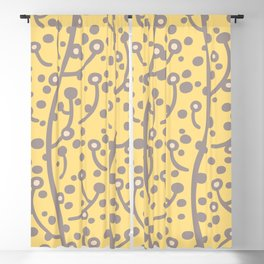 Mid Century Modern Spring Blossoms Gray and Yellow Blackout Curtain