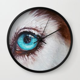 Husky's eye Wall Clock
