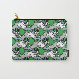 Horned Warrior Friends pattern (unicorn, narwhal, triceratops, rhino) Carry-All Pouch