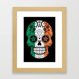 Sugar Skull with Roses and Flag of Ireland Framed Art Print