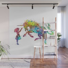 Girl and Unicorn Colorful Watercolor Kids Art Wall Mural