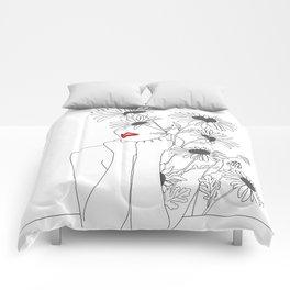 Minimal Line Art Girl with Sunflowers Comforters