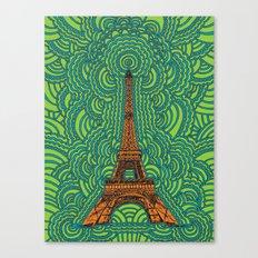 Eiffel Tower Drawing Meditation - orange/green/blue Canvas Print