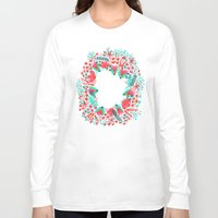 waldo Long Sleeve T-shirts featuring The Earth Laughs in Flowers – Pink & Charcoal by Cat Coquillette