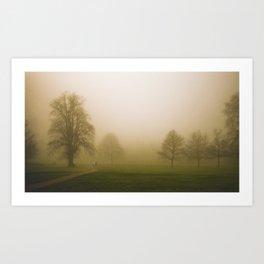 Couple in the fog Art Print