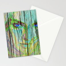 Woman on wood Stationery Cards
