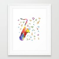 saxophone Framed Art Prints featuring Saxophone by Miss L in Art