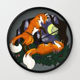 Playful Foxes Wall Clock