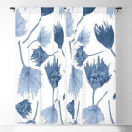 Indigo abstract watercolor flowers Blackout Curtain