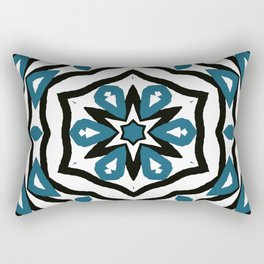 Black and Blue Star and Flower Pattern Rectangular Pillow