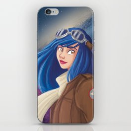 Steampunk and blue hair girl iPhone Skin