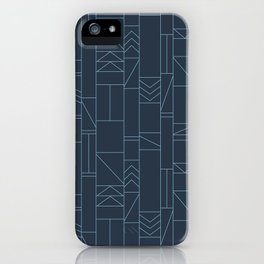 Out of Line | Linear Minimal Art Deco Print | Navy iPhone Case