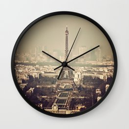 paris skyline aerial view with eiffel tower Wall Clock