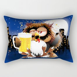 Drunk Owl with Beer Funny Character Rectangular Pillow