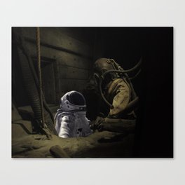 sea diver and spaceman Canvas Print