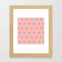 Coffee pattern in pink Framed Art Print
