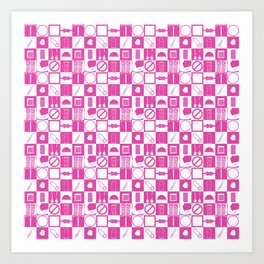 Contraception Pattern (Pink) Art Print