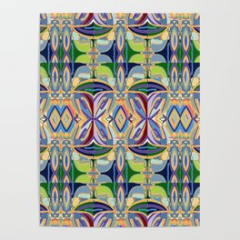 Butterfly mosaic - brightly colored pattern Poster
