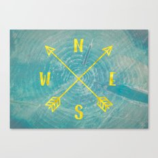 Map Compass - Forest Trees North East West South Compass Teal and Gold Canvas Print