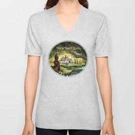 Enchanted Forest Cottage Unisex V-Neck