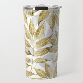 Modern gold autumn leaves design Travel Mug