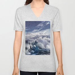 Stormy sea with water droplets Unisex V-Neck