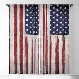 American flag Vintage Grunge Blackout Curtain