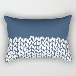 Half Knit Navy Rectangular Pillow