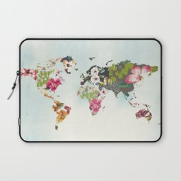 World Map Art Print, Poster, Tropical Home Decor, Floral, Teal Blue Laptop Sleeve