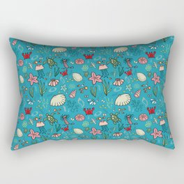 Beach and underwater pattern - fish and turtles and sea shells, oh my! Rectangular Pillow