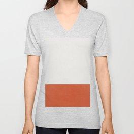 Burnt Orange Color Block Unisex V-Neck