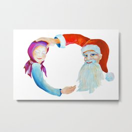 Whimsical Retro Watercolor Santa Claus with Sleeping Child Metal Print