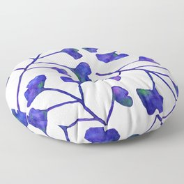 Ginkgo Leaves Watercolor Indigo on white Floor Pillow