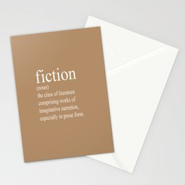 Fiction Definition (White on Tan) Stationery Cards