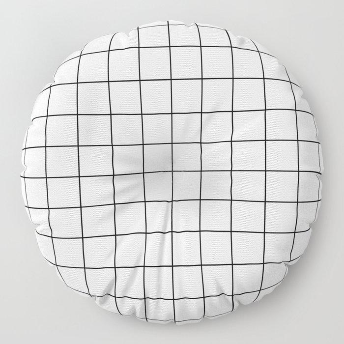 Grid Simple Line White Minimalist Floor Pillow