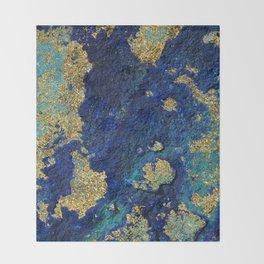 Indigo Teal and Gold Ocean Throw Blanket